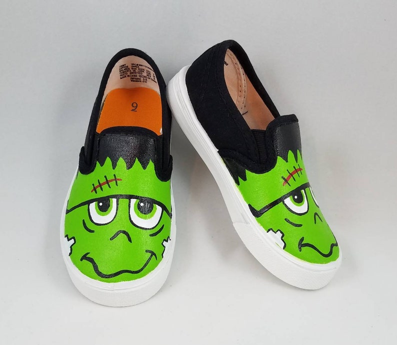 super popular c4f2c 930d7 Hand PAINTED FRANKENSTEIN SHOES Halloween shoes baby    Etsy