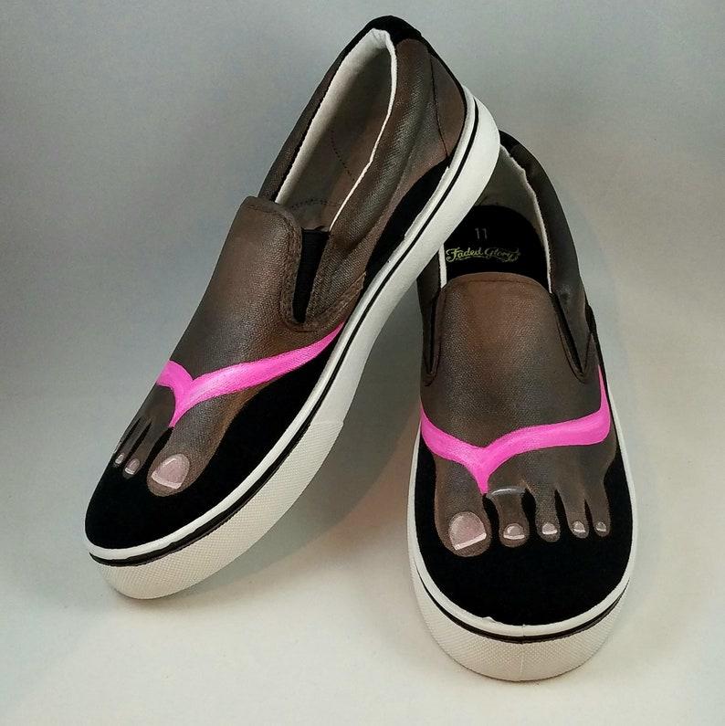 f9ae22660da Hand PAINTED FLIP FLOP Tennis Shoes Brown feet shoes | Etsy