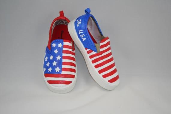 39877b59569 HAND PAINTED PATRIOTIC Shoes American Flag shoes Patriotic