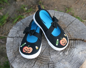 Hand PAINTED HALLOWEEN SHOES, Toddler Sizes 3-11, Pumpkin shoes