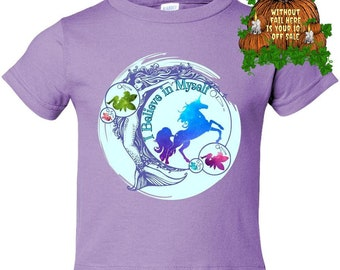 Positivity Good Vibes Kids Mermaid Fairy Unicorn Don't Stop Believing Fantasy Gifts Toddler Tees Casual Shirt