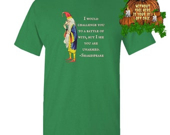 Bookworm Book Lover Teacher Lawyer Gift Shakespeare Merlin  Wisdom Battle of Wits Adult Unisex Tee Standard Shirt
