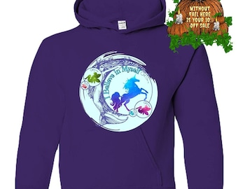 Positivity Good Vibes Kids Don't Stop Believing Mermaid Fairy Unicorn Gifts Youth Hoodie Pullover Sweatshirt