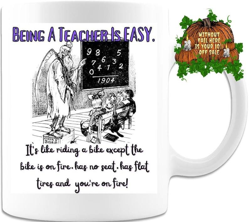 New Teacher Gift Teacher Cup Being A Teacher Is EASY Mug image 0