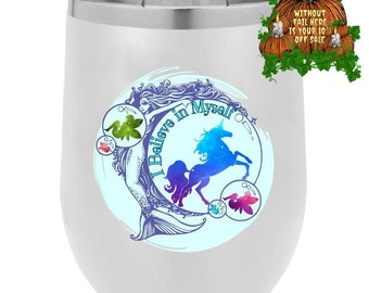 Positivity Good Vibes Kids Don't Stop Believing Mermaid Fairy Unicorn Gifts Stemless Lidded Tumbler