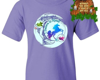 Positivity Good Vibes Kids Don't Stop Believing Mermaid Fairy Unicorn Gifts Casual Shirt Youth Tee