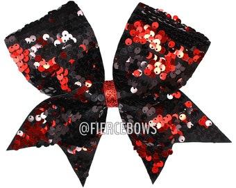 0d7e22ef41 Reversible Sequin Cheer Bow - Black Plus Color