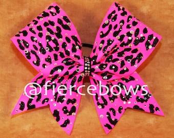 Neon Pink Cheetah Glam Rhinestone Bow