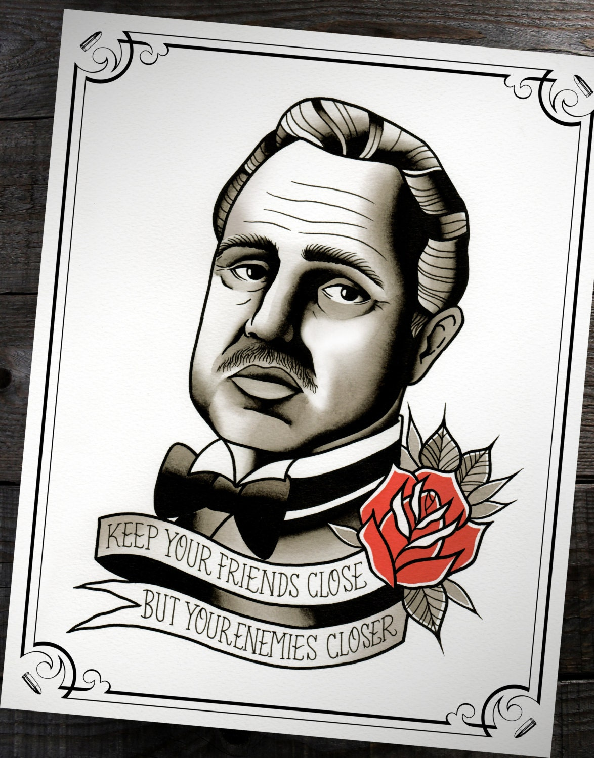 Der Pate Don Corleone traditionelle Tattoo Flash Print 11 | Etsy