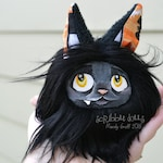 Cat Halloween Plush. Pocket Fluff Kitty, a Halloween black cat plush monster art doll toy plushie