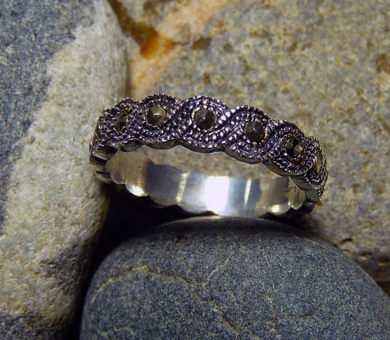 Victorian Wedding Marcasite Ring, Sterling Band, N