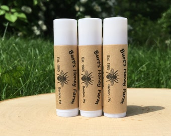 3 Tubes All Natural Beeswax Lip Balm with hint of peppermint