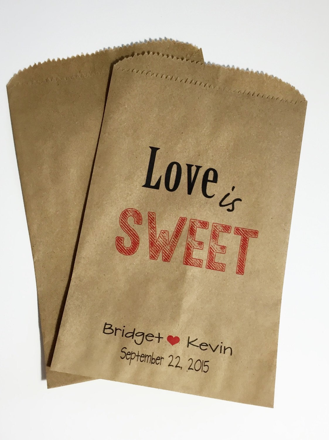 Love is Sweet Candy Buffet Bags, Wedding Candy Favor Bags, Candy Bar ...