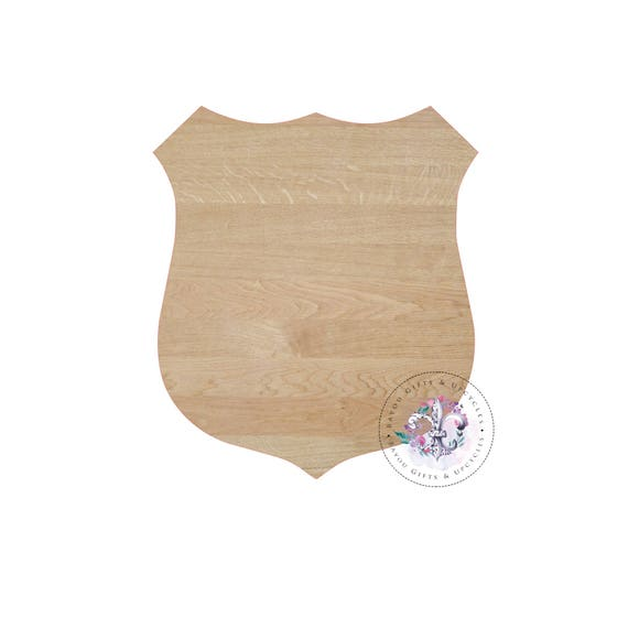 POLICE SHIELD BADGE Wooden Cutout Unfinished   Wooden Blanks, Wooden  Shapes, Wooden Wreath Shapes, Wooden Door Hangers, Shape Blanks From ...