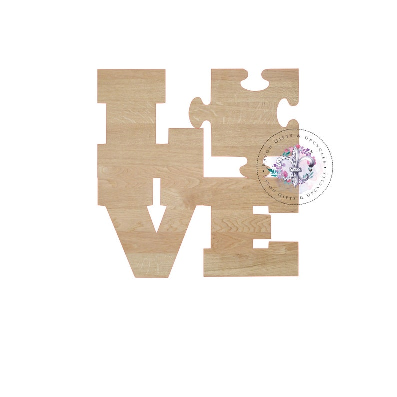b206cf6e75fe7 AUTISM AWARENESS LOVE Wooden Cutout Unfinished Wooden