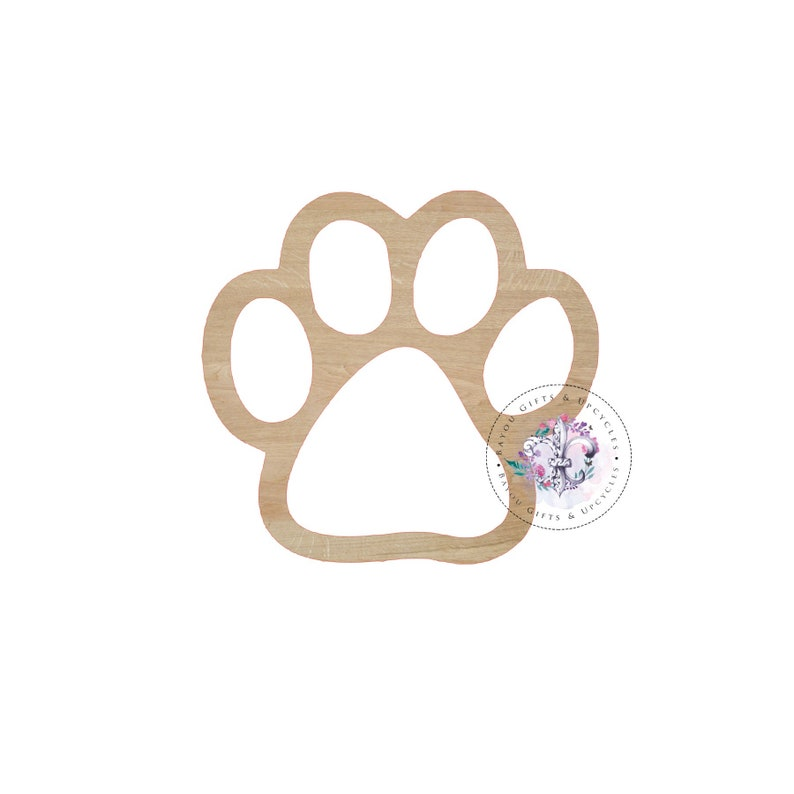3e0a86b6bfe7a PAW PRINT HALLOW Wooden Cutout Unfinished Wooden Blanks