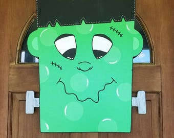 FRANKENSTEIN Door Hanger Halloween Door Hanger Personalized Halloween Door Hanger Witch Door Hanger Halloween Decor Spooky Door Hanger & Frankenstein cut out | Etsy