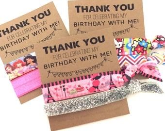 Thank You Birthday Party Favors - Small Gifts - Hair Tie Favors Princesses Poodle Hello Kitty Glitter