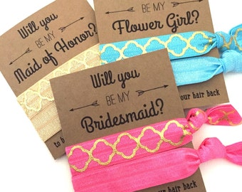 Will you be my Bridesmaid- Maid of Honor -Flower Girl // Hair Tie  Favors - Bridesmaid Proposal Gold Quarterfoil