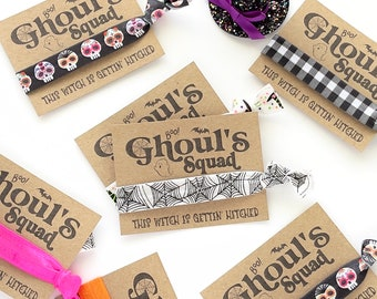 Ghouls SQUAD Party Favors Bachelorette Halloween Hair Ties This witch is gettin' hitched Tie Dye Witch Gifts Halloween Squad Girls Night out