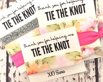 Hair Tie Bridesmaid Gift // Floral Silver Pink Hair Tie Bracelets, Gold Silver Hair Tie, Bridesmaid Gift, Bachelorette Hair Tie Favors