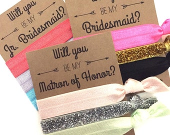 Will you be my Bridesmaid Card // Bridesmaid Hair Tie Favors - Bridesmaid Proposal Gift - Bachelorette Favor