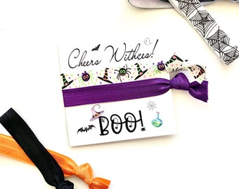 Cheers Witches Hair Tie Favors Boo, Halloween hair tie favors Halloween Boochelorette fall birthday favor Trick or Treat Halloween Party
