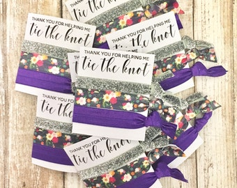Hair Tie Bridesmaid Gift | Thank you | Wedding Hair Tie Favors | Thank you for helping me tie the knot - Wedding Favors