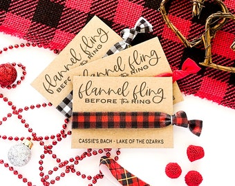 Flannel Fling Before the Ring | Red Black Buffalo Plaid Check Bachelorette favors Camping Glamping Bridal Party Gifts Christmas Plaid