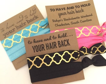 Bachelorette Hair Tie Favor - Bachelorette Party - To Have and To Hold - Choose Your Color and Card Style - MOH- Gifts-Survival Kit