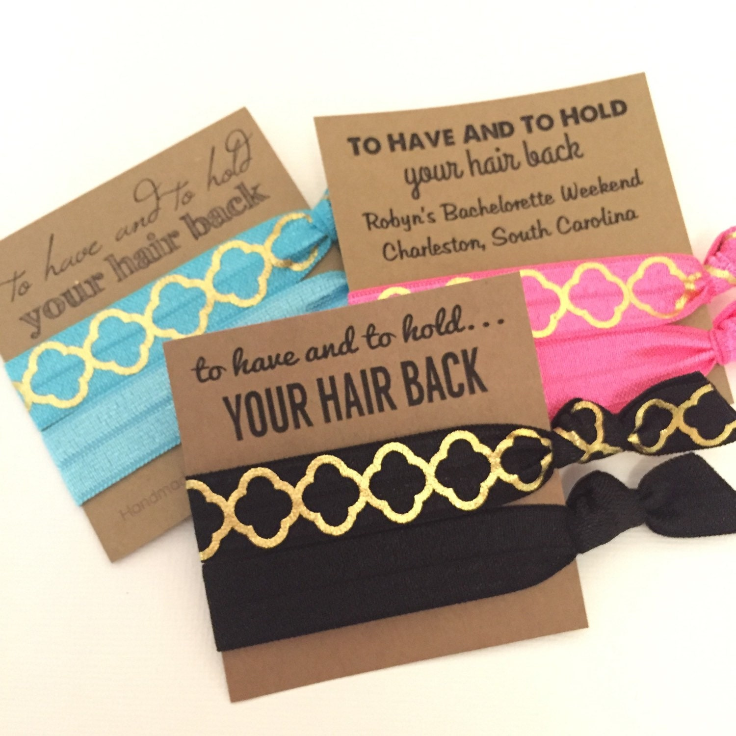Bachelorette Hair Tie Favor - Bachelorette Party - To Have and To Hold -  Choose Your Color and Card Style - MOH- Gifts-Survival Kit c04df3a60e8