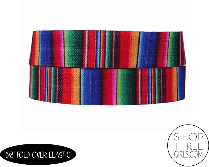 Blue Serape 5/8 Fold Over Elastic by the yard DIY Hair image 0