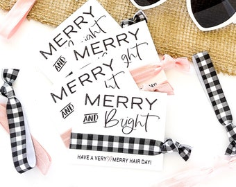 Pink Merry and Bright Holiday Favors | Merry Christmas Black Buffalo Plaid Check Hair Ties, Stocking stuffers, teacher friend coworker gift