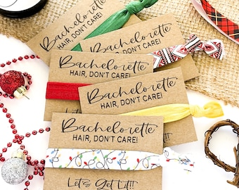 Bachelorette Hair, Don't Care! Let's Get Lit! Hair Tie favors, Holiday Winter Bachelorette Bridal Party Gifts Plaid Holiday Lights
