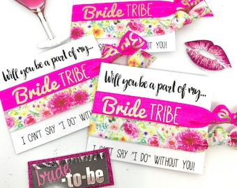 Bachelorette Party Favors | Bridesmaid Proposal | Bride Tribe Hair Tie | [NeonBrideTribe+brightfloral] -MOH-Survival Kit | To Have and To Ho