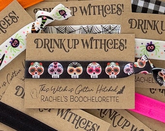 DRINK UP Witches Boochelorette Halloween Hair Ties This witch is gettin' hitched Ghouls Squad Witch Gifts Halloween Squad Girls Night favors
