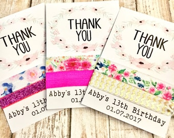 Birthday Party Hair Tie Favors | Personalized Birthday Party Favors | Girls Teen Tween | Sleepover Spa Day Hair Ties