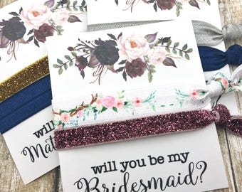 Will you be my Bridesmaid | Bridesmaid Proposal | Bridesmaid Hair Tie  Favors | To have and to hold your hair back |Rose Gold