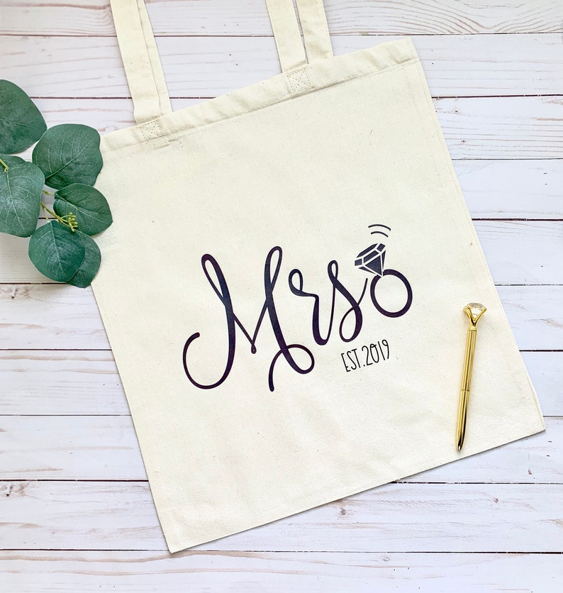 Personalized Mrs. Tote Bag Bride Gift Custom tote bag for image 0