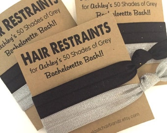 Bachelorette Hair Tie Party Favor | 50 Shades of Grey Party Favor | Hair Tie Favor | Survival Kit