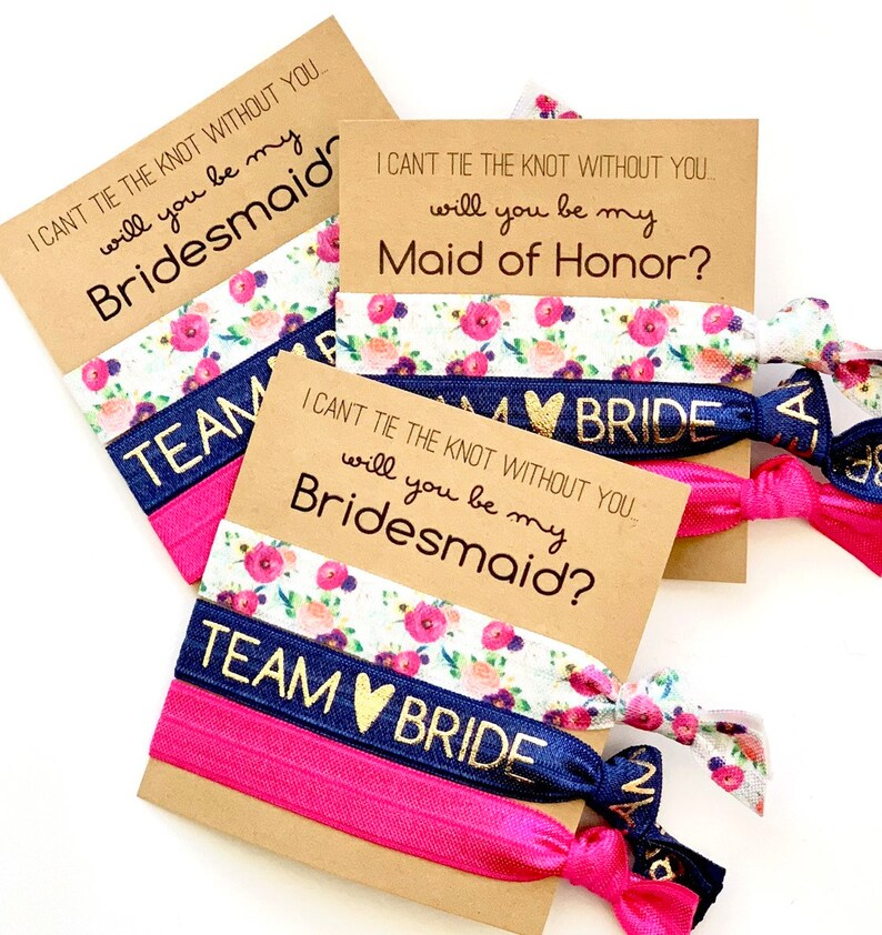 Will you be my Bridesmaid  Bridesmaid Proposal Hair Tie image 0