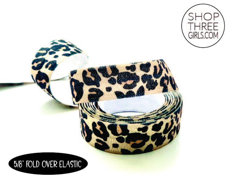 Fold Over Elastic Leopard Print Elastic by the yard Hair Tie image 0