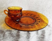 Amber Kings Crown Thumb Print Snack Plate and Cup from Indiana Glass (2 pieces)