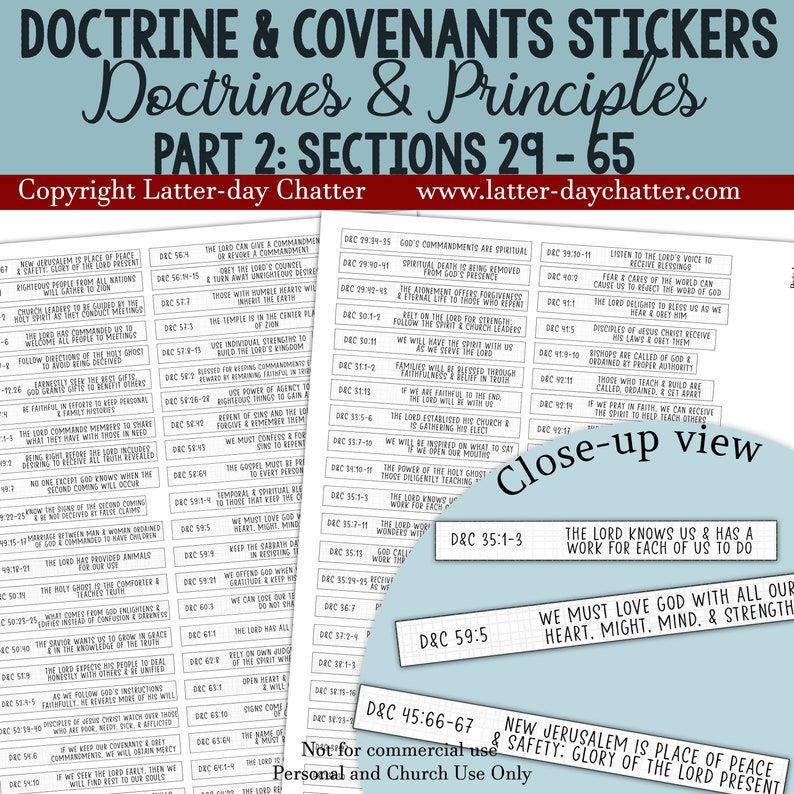 NEW: D&C Journal Notebook Stickers  PART 2 Doctrines and image 0