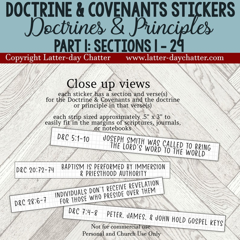 NEW: D&C Journal Notebook Stickers  PART 1 Doctrines and image 0
