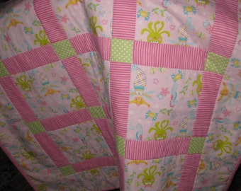 Girl's  or  baby quilt with sea animals  and mermaids