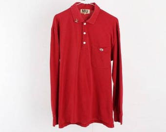 Vintage Polo shirt/Retro shirt/Vtg Polo shirt/Vintage t-shirts/90s tee/Long Sleeve shirts/Polo Vintage/Vintage Old School/Mu/Red/ D54 Men L