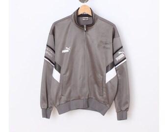 ab9e2d5056e0 Vintage PUMA jacket Puma Windbreaker Puma tracksuit vintage Puma  hoodie Retro Puma Coat Vtg Puma Jumper 90 s Grey G417 Men Size L