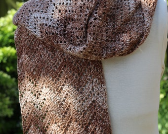 Crocheted scarf that measures aprox 68.9 inch... in ripple stitch with pure cotton.