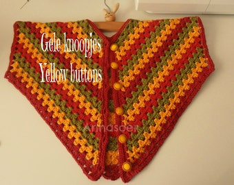 Baby poncho crocheted Rasta poncho in red yellow and green